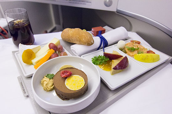 Air France New Business Class Dinner Service