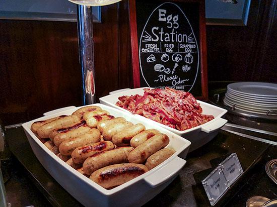 Clipper Lounge Mandarin Oriental Hong Kong Sunday Brunch Sausages and Bacon