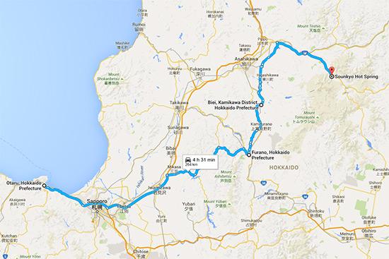 Hokkaido Autumn Guide Furano Biei Sounkyo Onsen map