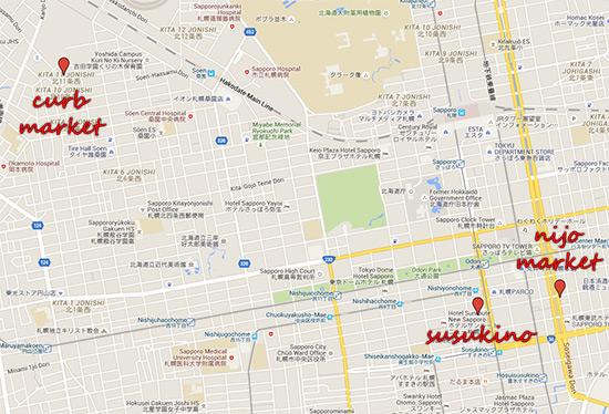 Hokkaido Autumn Guide Sapporo Curb Market Nijo Market Map