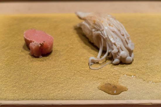 Mantenzushi Marunouchi Tokyo Enoki Mushroom Sushi and Tarakko