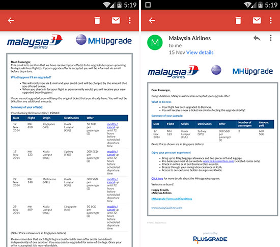 MAS Malaysia Airlines MH Upgrade Cheap Business Class